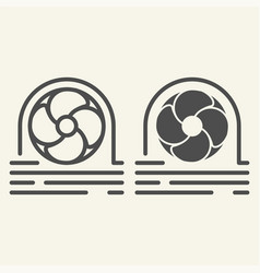 Fan cooler line and glyph icon blower vector