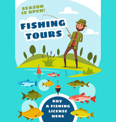 Fishing tours for fishers poster with fish in lake vector