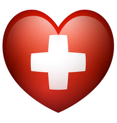 flag of switzerland in heart shape vector image