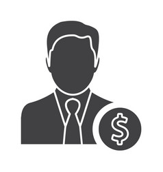 Flat black manager icon vector
