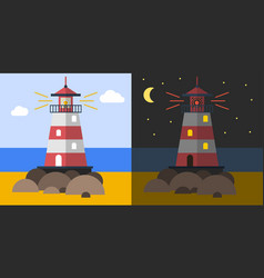 Flat lighthouse on the coast vector