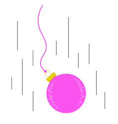 Flying down the flat pink insulated christmas toy vector