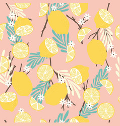 fruit seamless pattern lemons with branches vector image