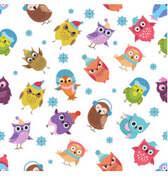 Funny winter owls seamless pattern vector