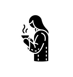 girl with hot drink in mug black glyph icon vector image