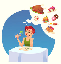 girl woman on a diet tasty desires for food vector image