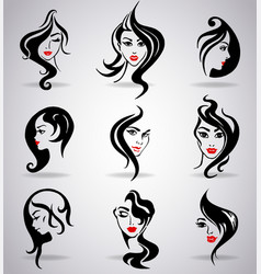 Girls portraits with long hair and red lips vector
