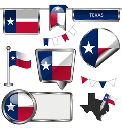 Glossy icons with Texan flag vector