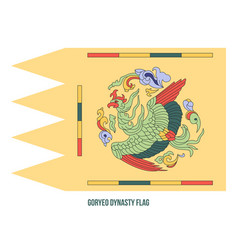 Goryeo dynasty 918-1392 flag waving on white vector