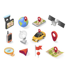 gps city navigation icon on isometric style vector image