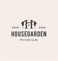 h letter house tree garden hipster vintage logo vector image