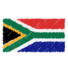 Hand drawn national flag of south africa isolated vector