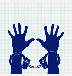 hands in handcuffs icon on lined paper background vector image