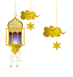 Hanging lamp and cloud vector