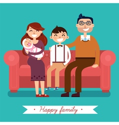 Happy family with newborn baby vector