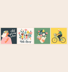 Happy womens day march 8 cute cards and posters vector