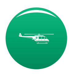 Helicopter icon green vector