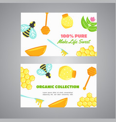 Honey horizontal banners with flat honey elements vector