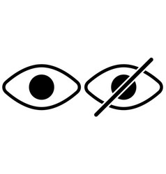 icons see dont see crossed out eye sign vector image
