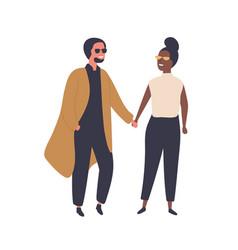 Interracial couple flat set vector