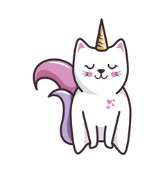 isolated magic cat unicorn vector image