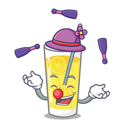 Juggling lemonade mascot cartoon style vector