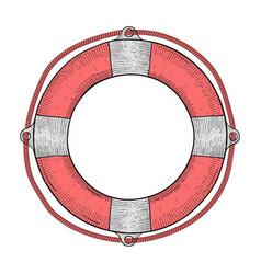 lifebuoy red white lifesaving device hand drawn vector image