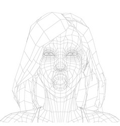 low poly wireframe a girl with long hair and a vector image