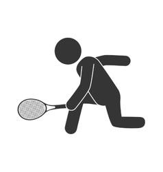 Man playing tennis racket icon vector