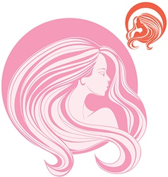 minimalistic stylization of womans head in side vector image