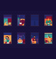 neighbors in windows night vector image