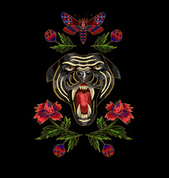 Panther butterfly and flowers embroidery patch vector