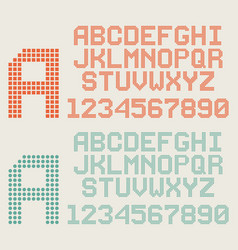 retro font pixel letters and numbers dotted vector image