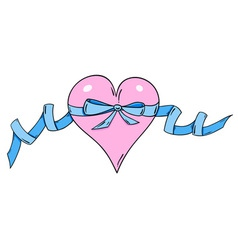rose heart with blue ribbon vector image