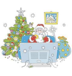 Santa claus watching tv vector