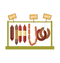 sausages counter display or butcher shop meat vector image