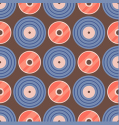 Seamless pattern retro vinyl musical record audio vector