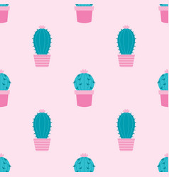 Seamless pattern with cactus in green and on pink vector
