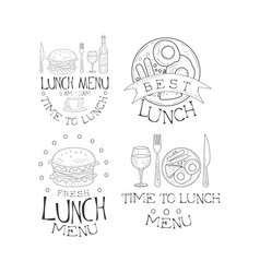 set monochrome lunch logos sketch style vector image