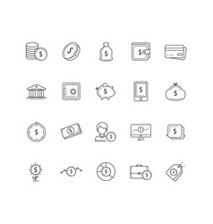 set of 20 money and pyament thin line icons vector image