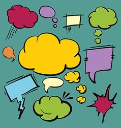 Set of cartoon speech bubbles on a green vector image
