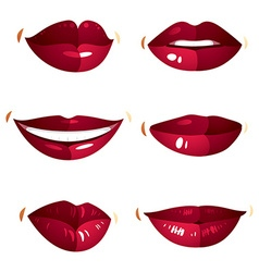 Set of sexy female red lips expressing different vector image