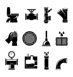 Sewerage icons set vector image vector image