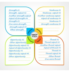 Sheet with SWOT analysis diagram wit space for own vector image