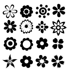 Silhouettes of simple flowers vector