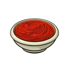 Sketch style drawing of ripe red tomato slice vector