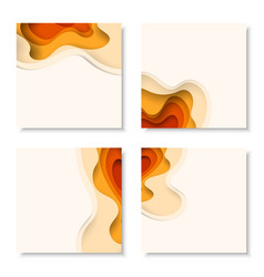 Square banners with 3d abstract background with vector