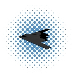 Stealth bomber icon comics style vector