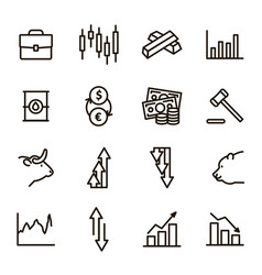 stock quotes sign black thin line icon set vector image