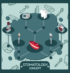 stomatology color isometric concept icons vector image